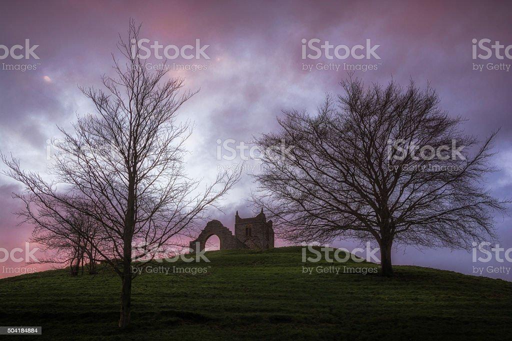 Burrow Mump Church Ruins stock photo