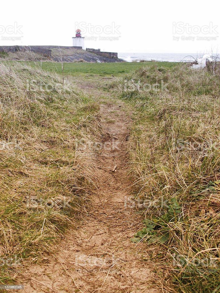 Burry Port lighthouse path through dunes royalty-free stock photo