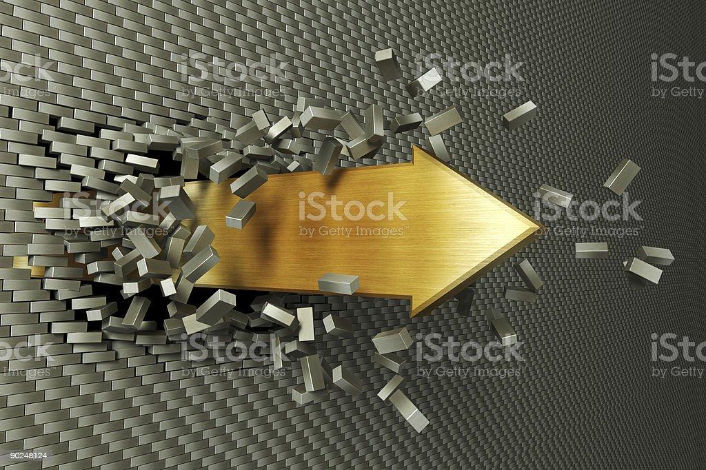 burst through arrow stock photo