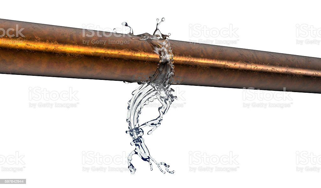 bursted copper pipe with water leaking out stock photo