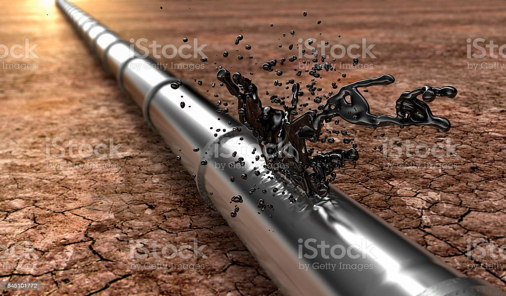 bursted oil-pipe with oil leaking out stock photo