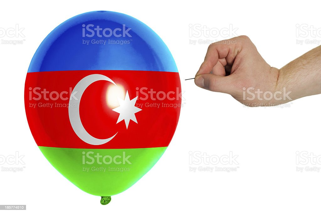 Bursting balloon colored in national flag of azerbaijan stock photo
