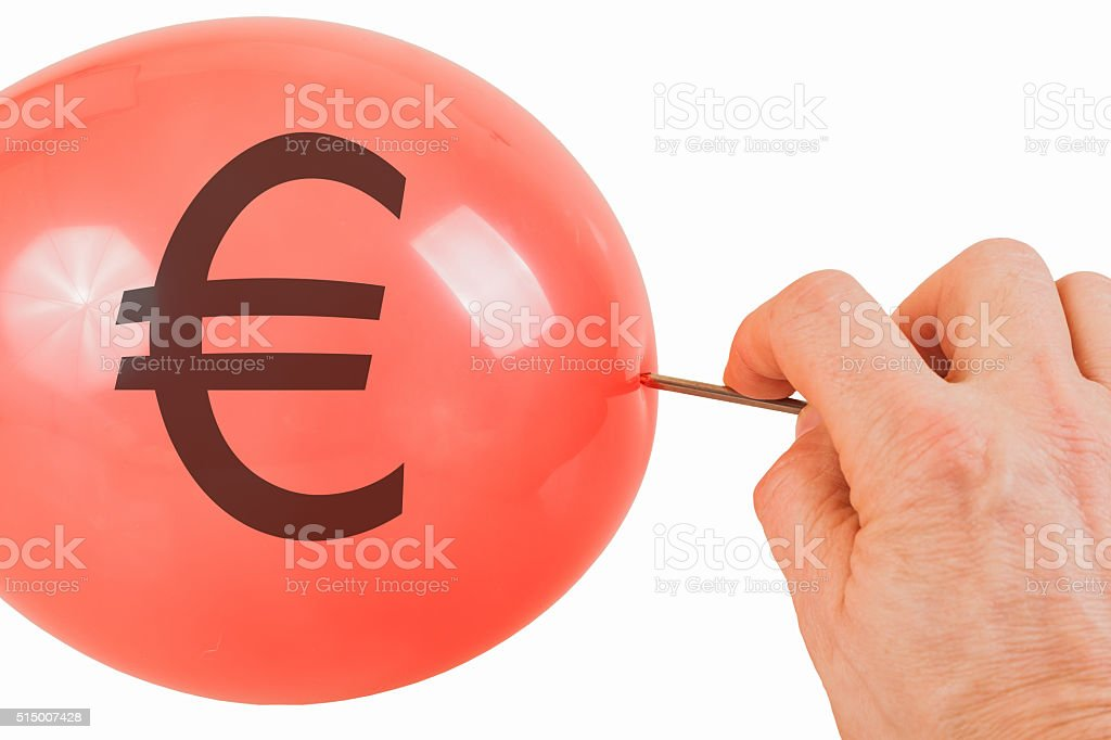Bursting of the Euro bubble stock photo