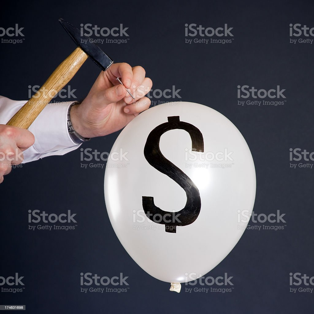 bursting the financial bubble royalty-free stock photo