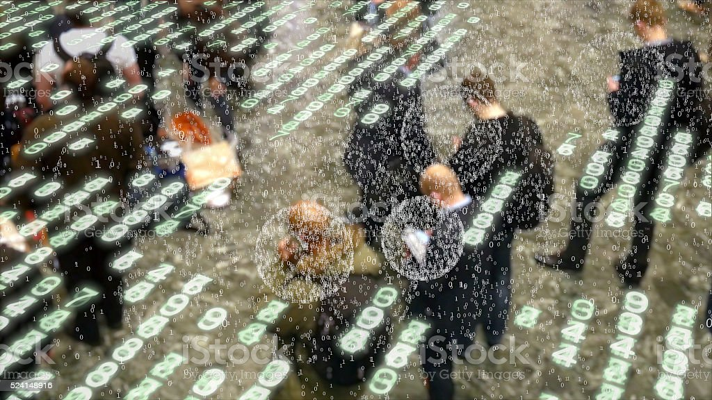 Bursts of data coming from mobile phone users. stock photo