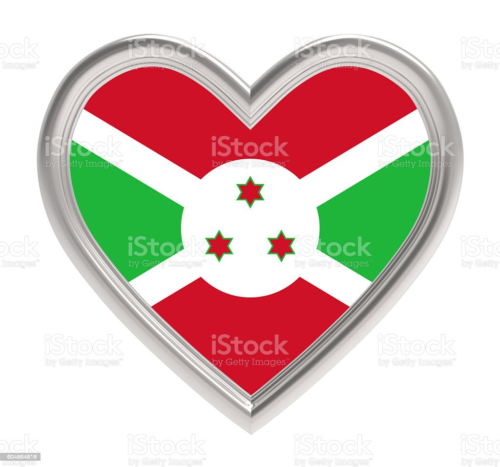 Burundi flag in silver heart isolated on white background. stock photo