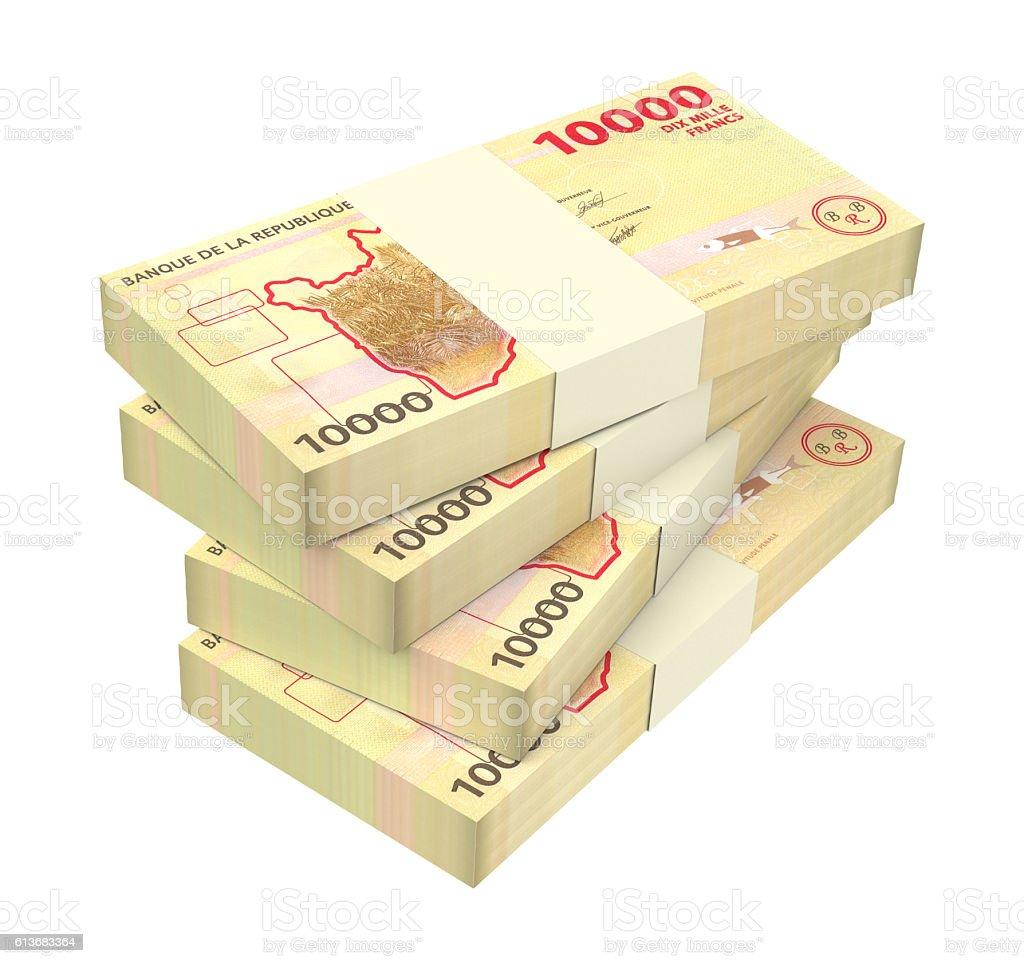 Burundian francs bills isolated on white background. stock photo