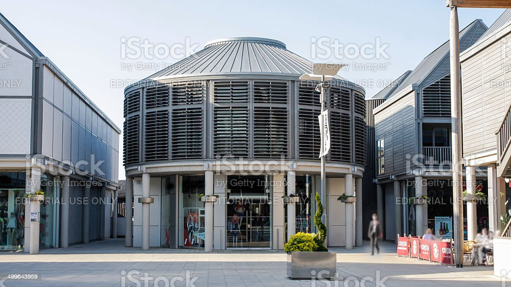 Bury St Edmunds new town centre shops with shoppers stock photo