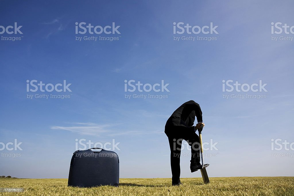 Burying stuff stock photo