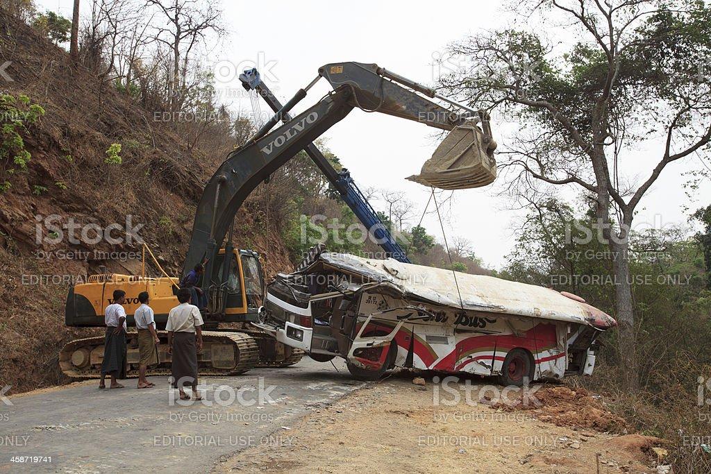 Bus accident in Myanmar stock photo