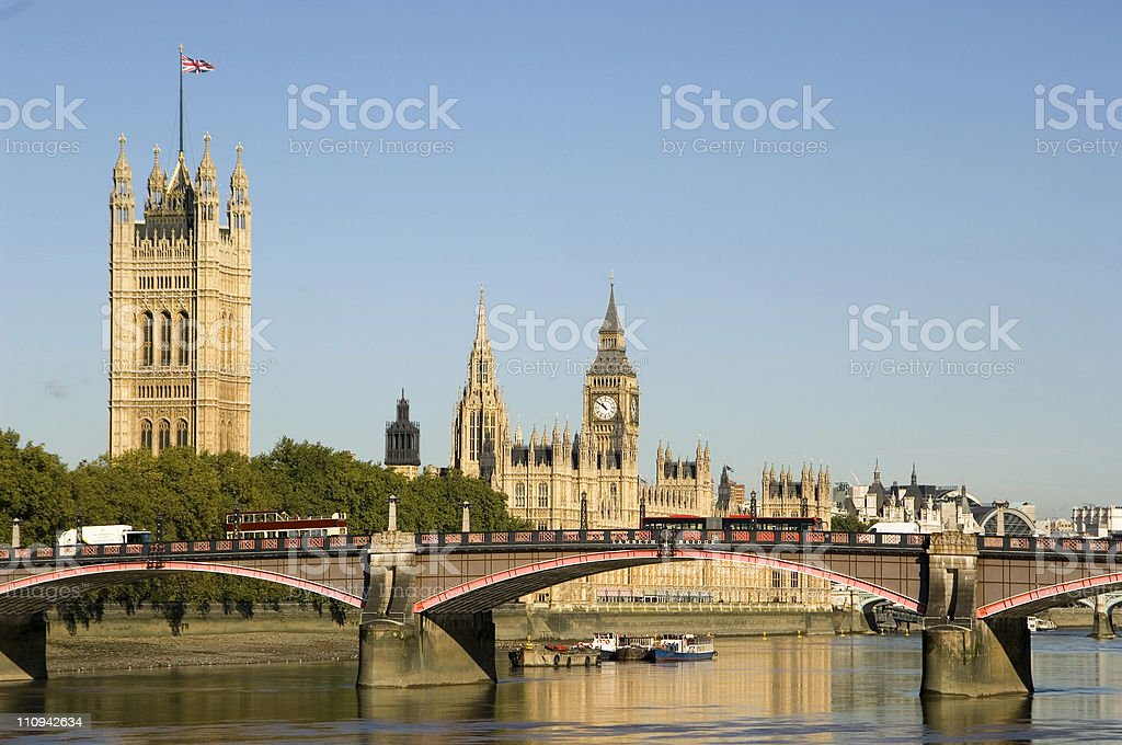 Bus and Houses of Parliament with Big Ben royalty-free stock photo