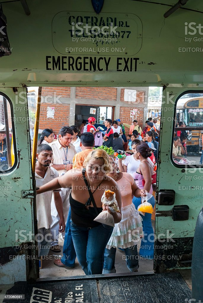 Bus and market in Rivas, Nicaragua stock photo