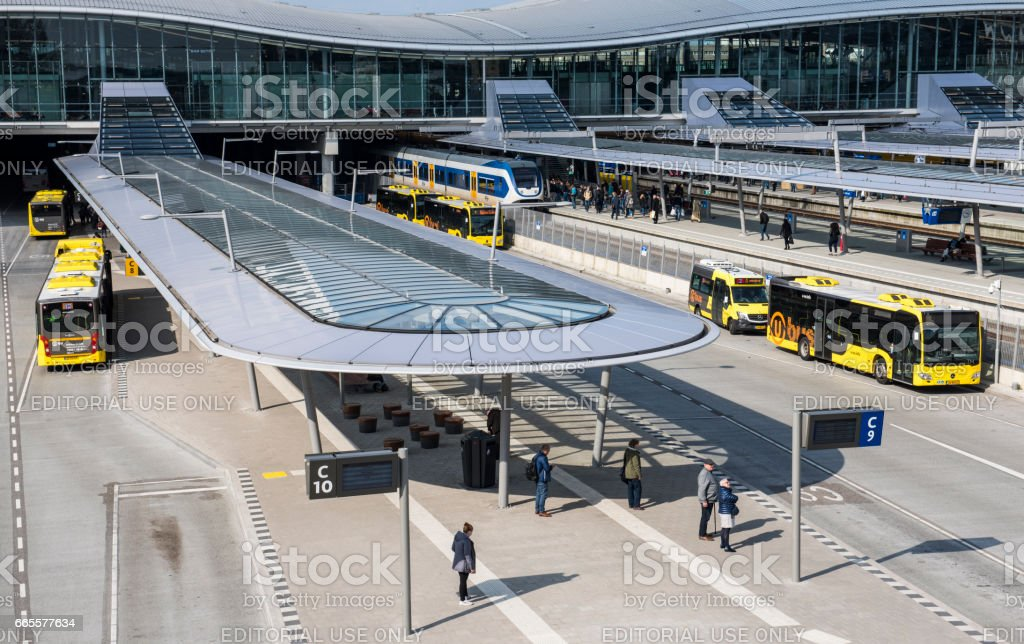 Bus and Railway Station Utrecht stock photo