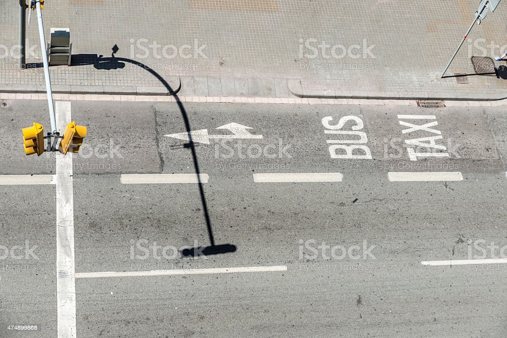 Bus and taxi lane stock photo