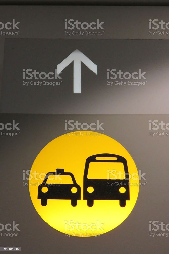 Bus and taxi sign stock photo