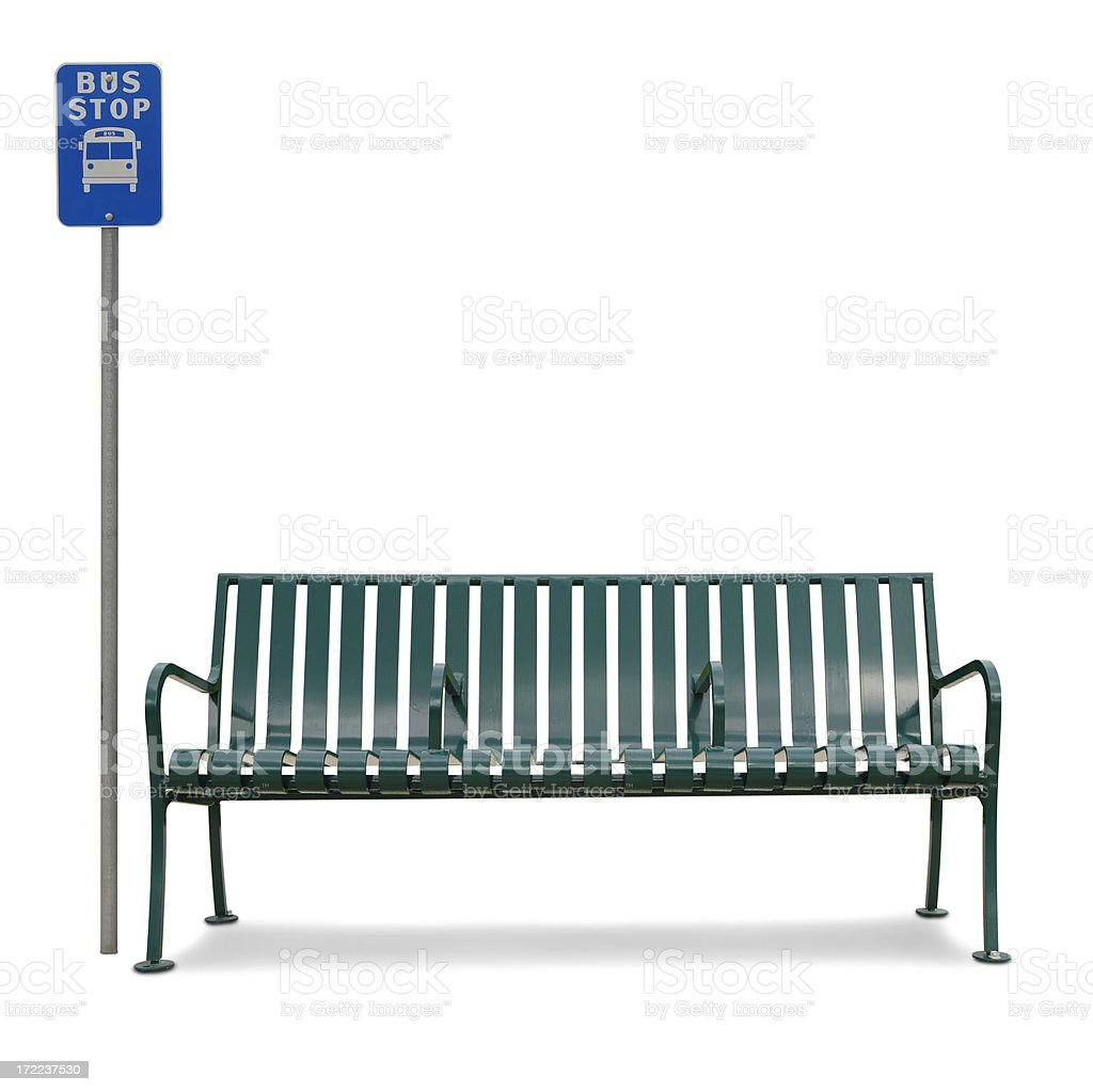 Bus Bench and Sign royalty-free stock photo