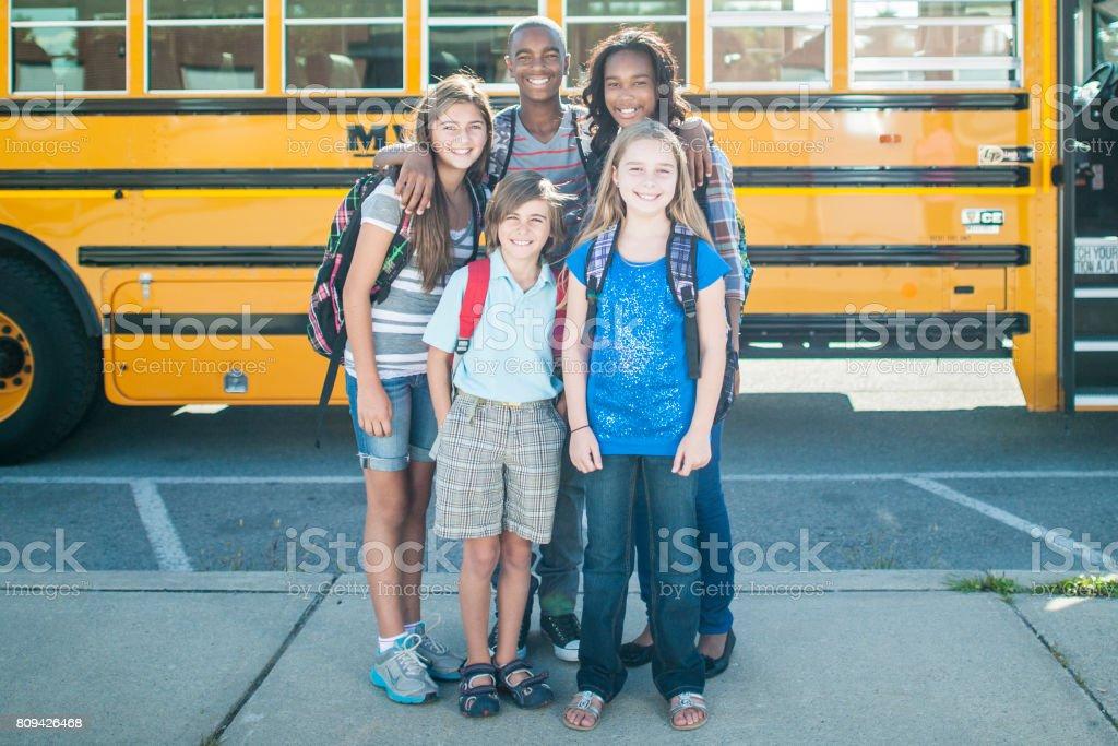 Bus Buddies stock photo
