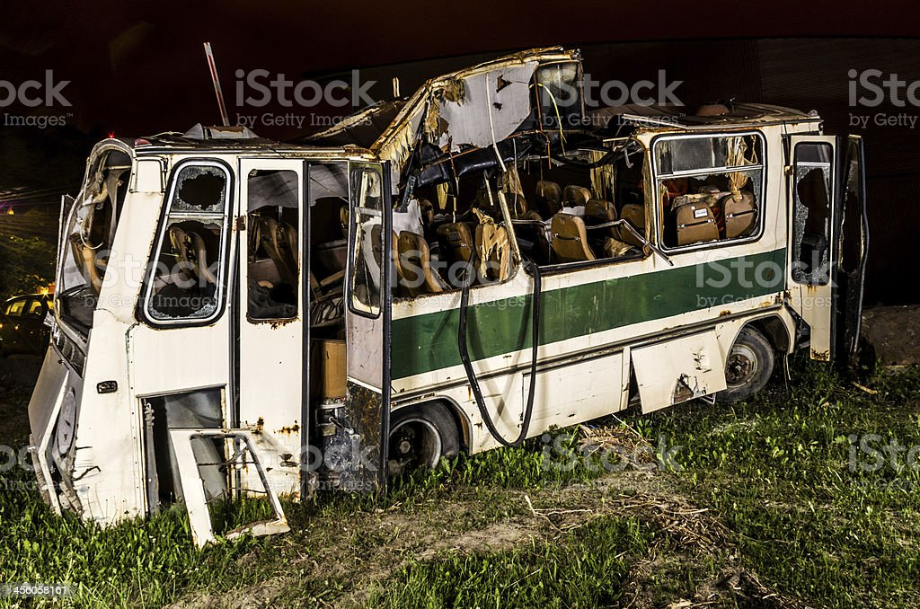 bus destroyed stock photo