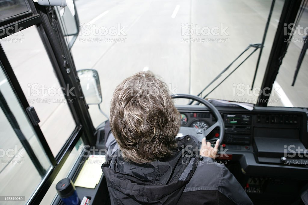 Bus Driver From Above stock photo