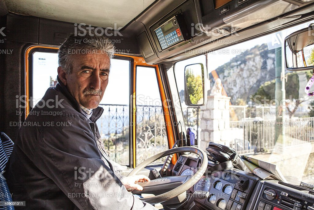 Bus Driver in Capri Island, Italy stock photo