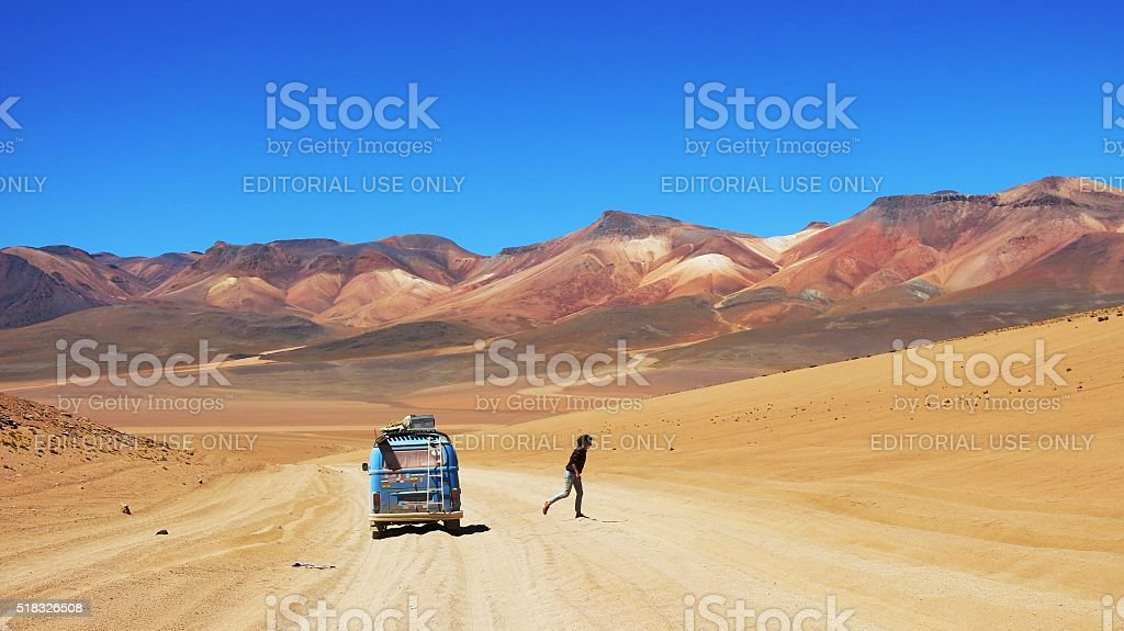 VW Bus driving offroad at Altiplano, Bolivia stock photo
