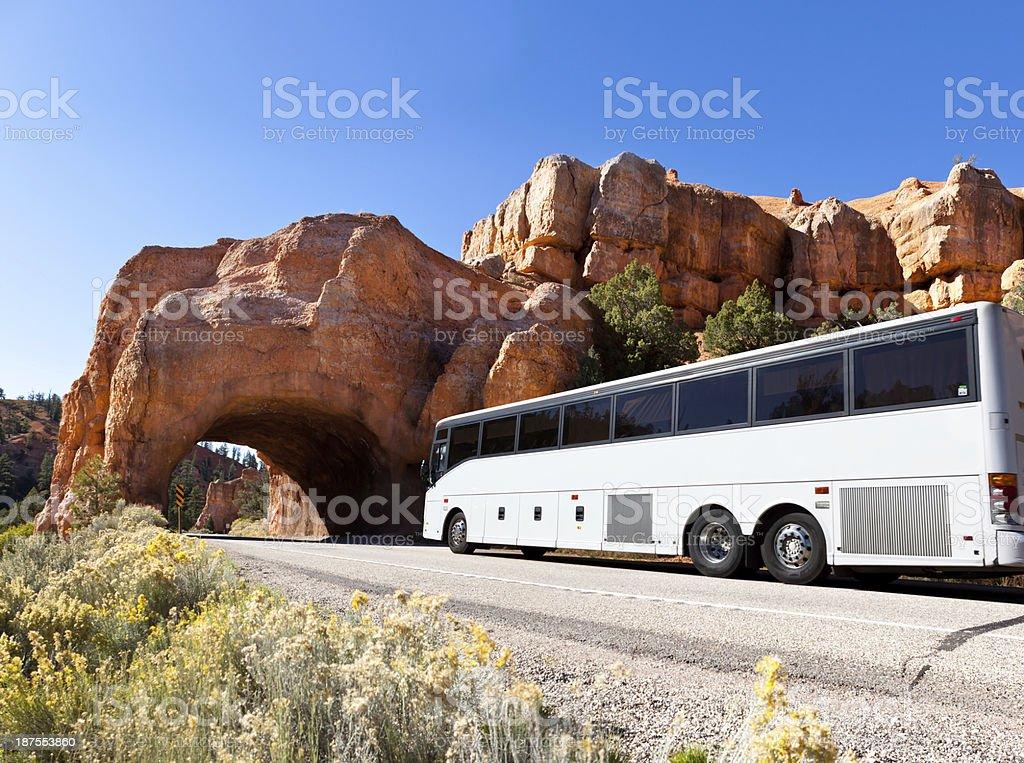 Bus driving through tunel Bryce Canyon USA stock photo