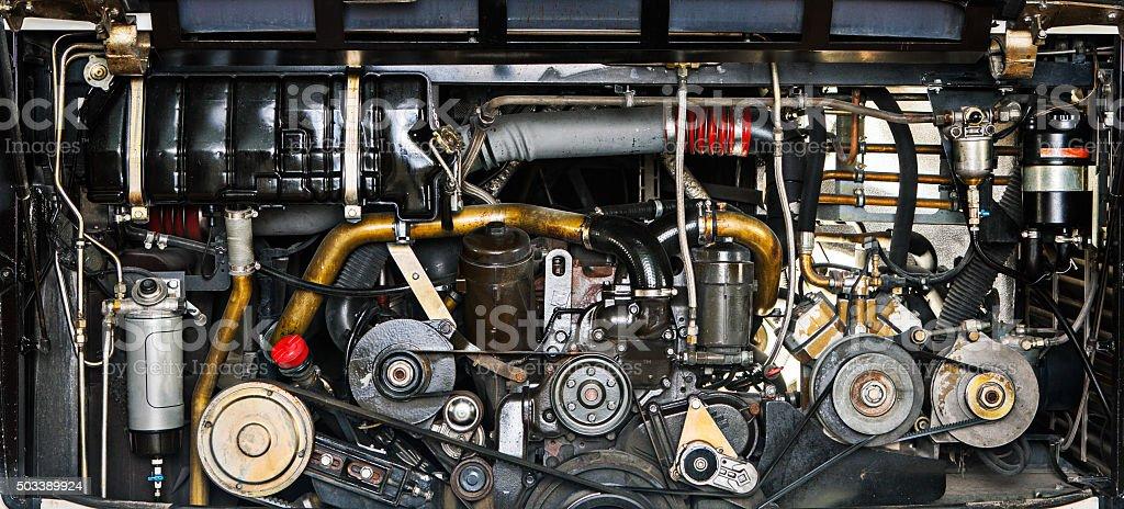 bus engine stock photo