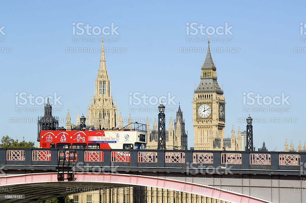 Bus, Houses of Parliament and Big Ben, London royalty-free stock photo