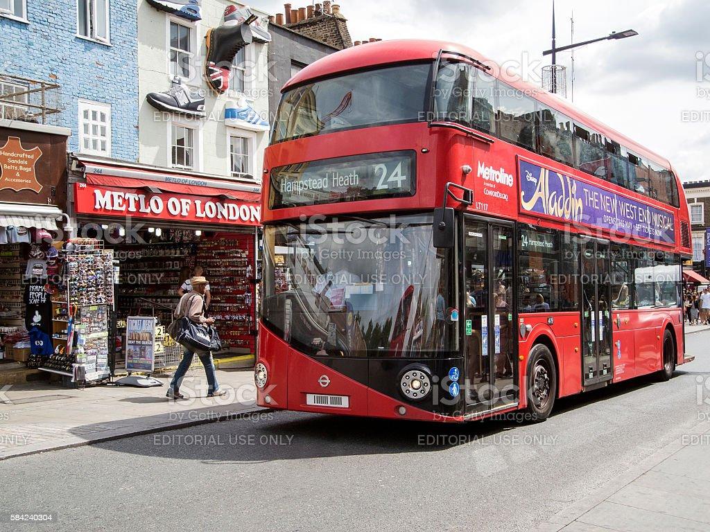 Bus in Camden Town stock photo