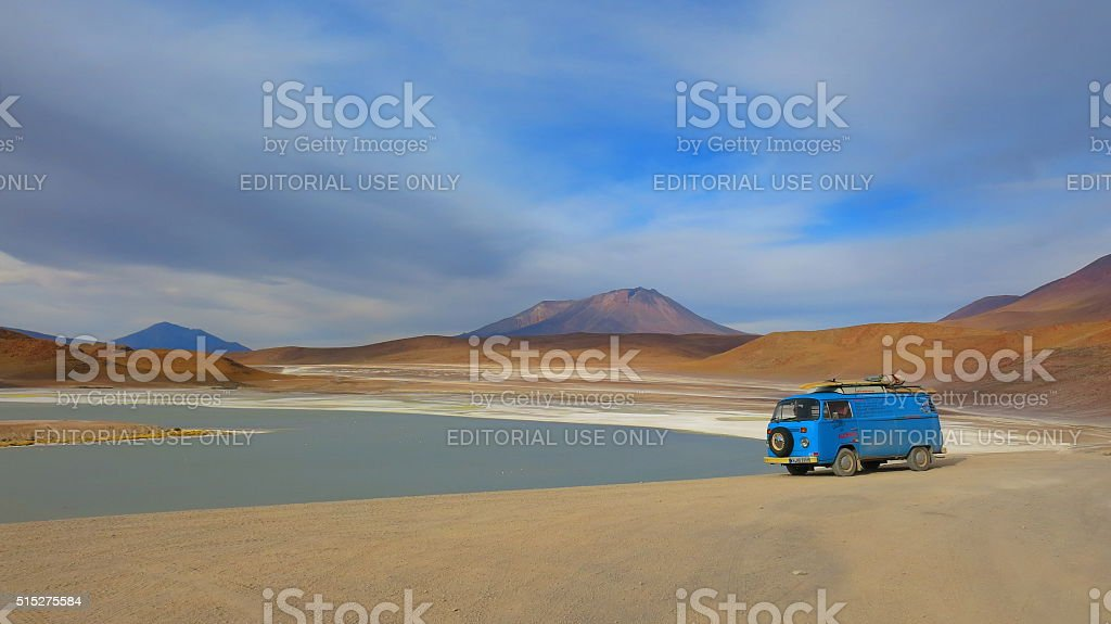 VW bus in desert landscape of southern Bolivia stock photo