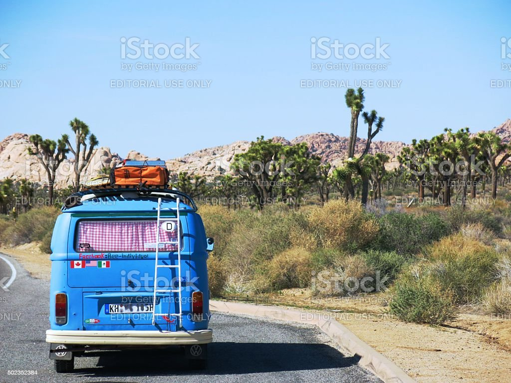 VW Bus in Joshua Tree National Park stock photo