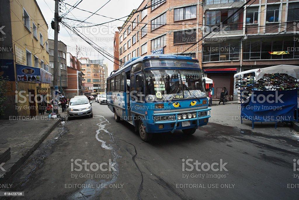 Bus in La Paz stock photo