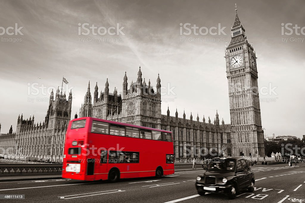 Bus in London stock photo
