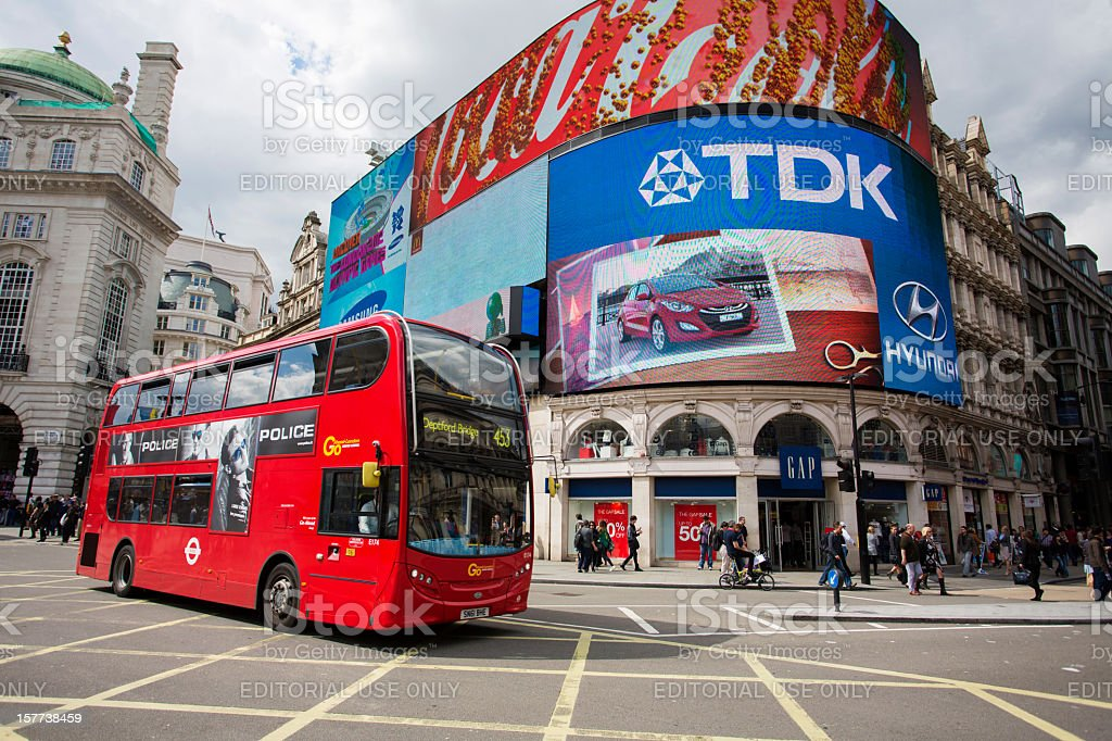 Bus in Picadilly Circus stock photo