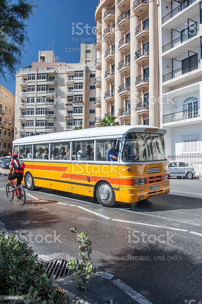 Bus in St. Julian's Town in Malta stock photo
