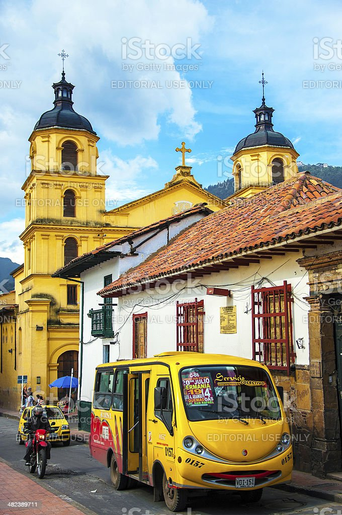 Bus in the Center of Bogota stock photo