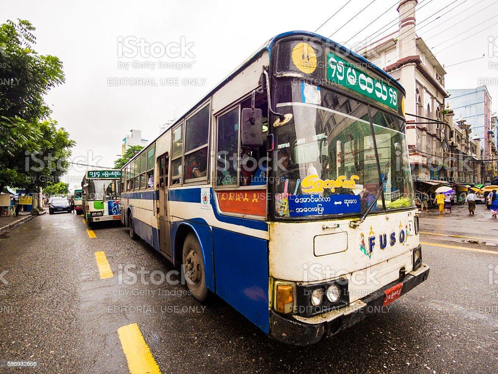Bus in Yangon, Myanmar stock photo