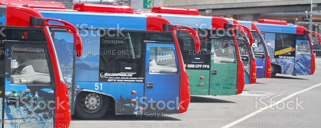 bus in Zurich airport stock photo
