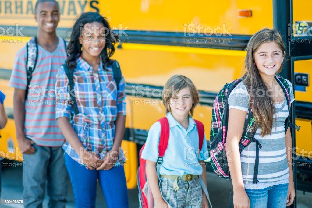 Bus Lineup stock photo