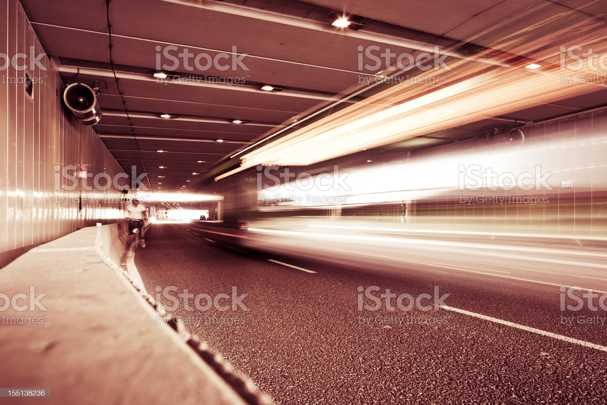 Bus moving fast in a tunnel. Milan, Italy royalty-free stock photo