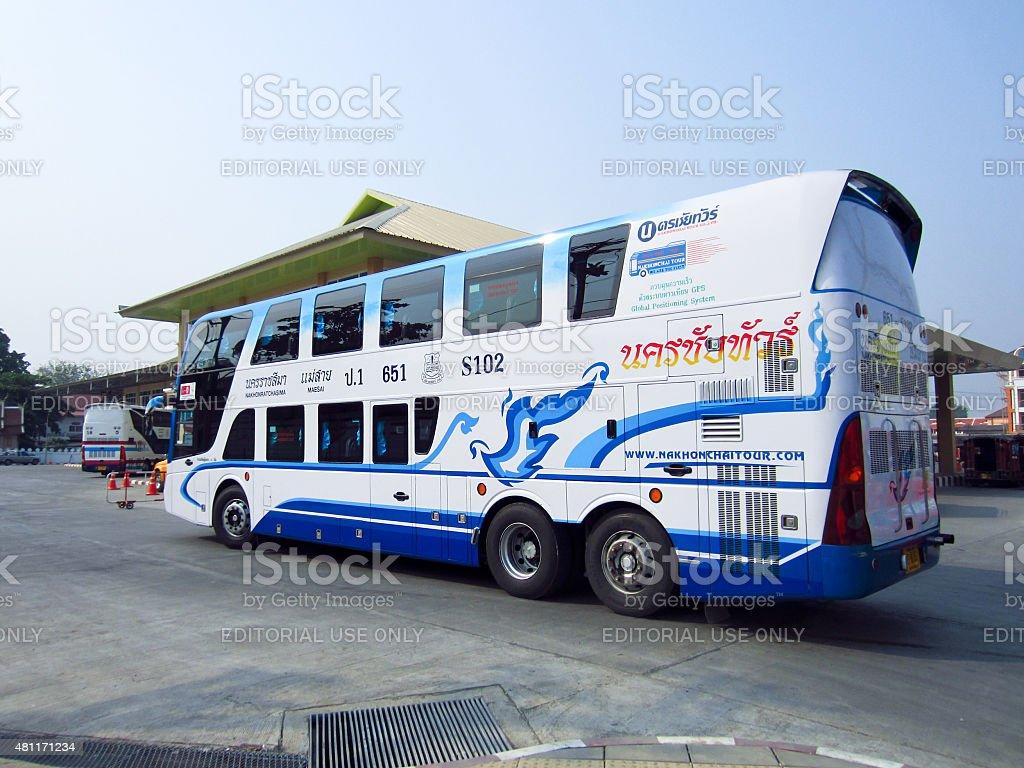 bus no.651-S102 Double deck of Nakhonchai tour stock photo