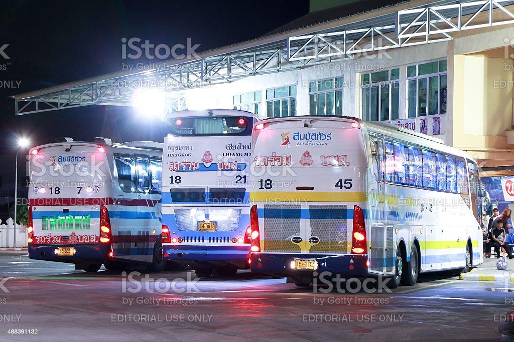Bus of Sombattour company stock photo