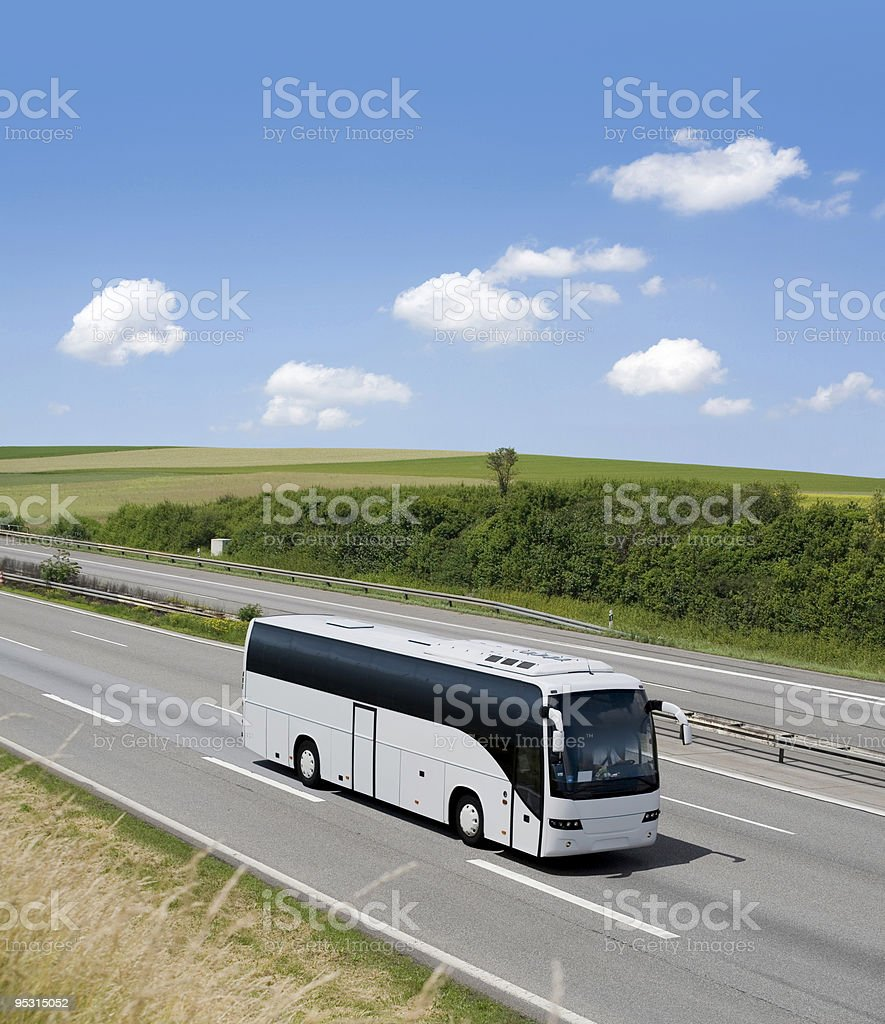 Bus on driving on german highway stock photo