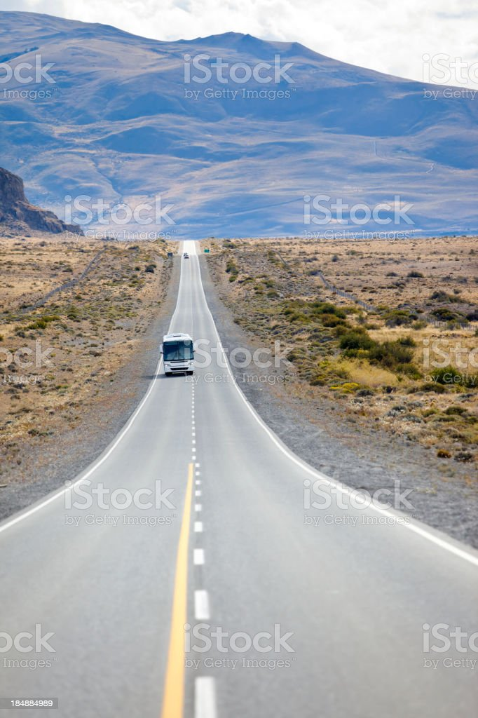 Bus on highway in Argentina Patagonia near Calafate stock photo