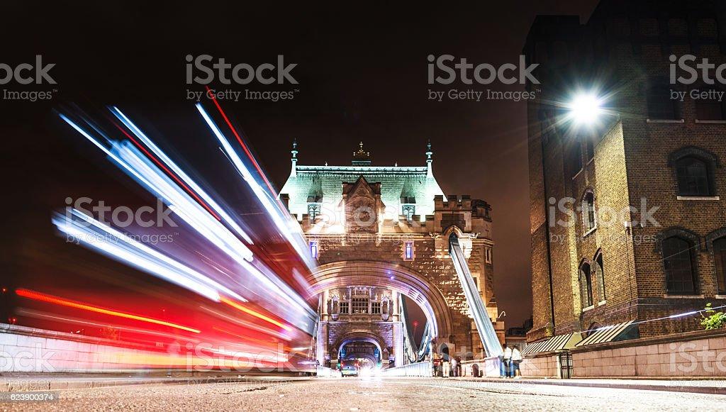 bus on london tower bridge stock photo