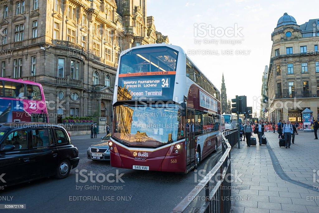 Bus on Princes Street, Edinburgh stock photo