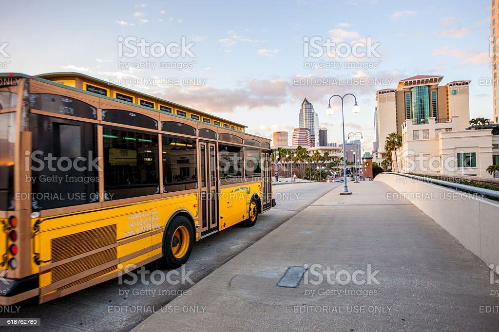Bus on Tampa street, Florida, USA stock photo