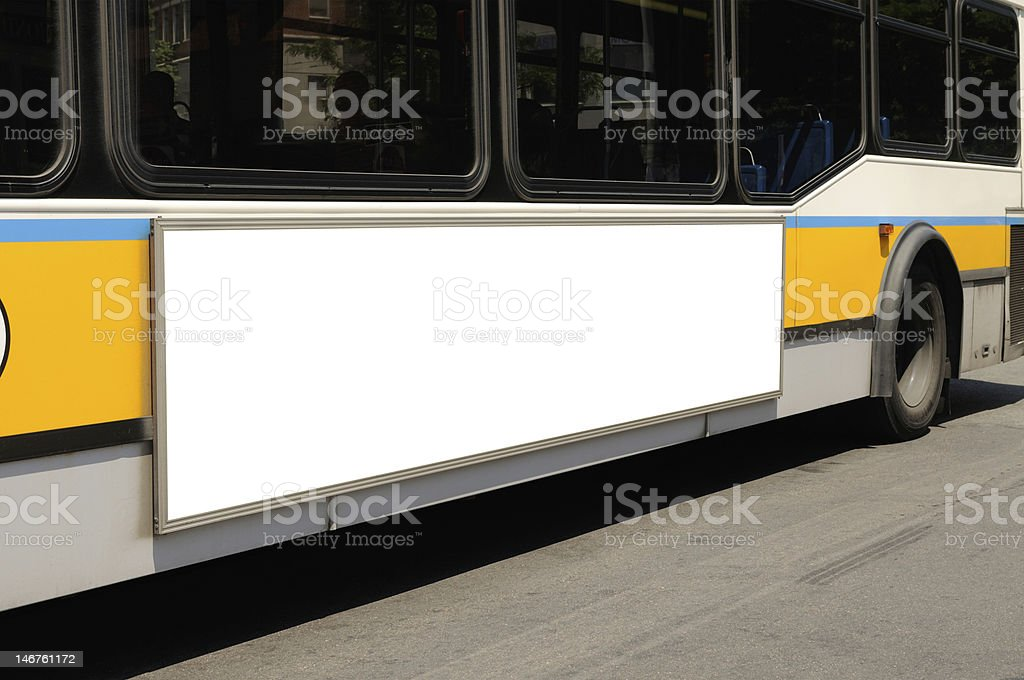 Bus on the road with a blank billboard stock photo