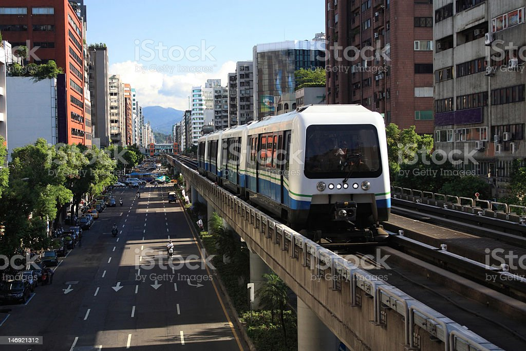 A bus on the Taipei rapid transit system stock photo
