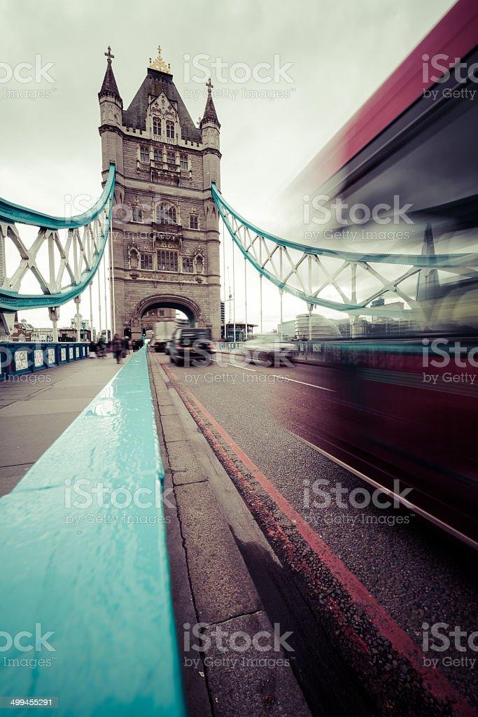 Bus on Tower Bridge, London, England stock photo